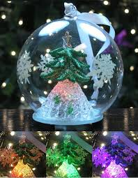 led tree ornament glass with green