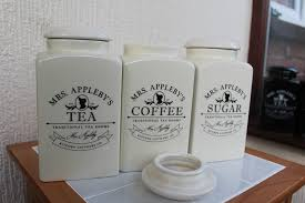 mrs appleby u0027s set of tea coffee sugar jars canisters glossy cream