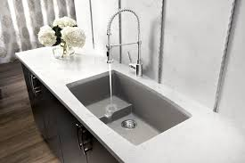 kitchen sink and faucet ideas aluminium counter top open shelving