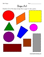 shape art worksheet cut out each shape and glue on paper to make