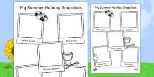 holiday snapshots writing frame transition writing aid