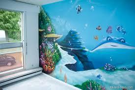 fresque murale chambre décoration graffiti sur le thème fond marin et nemo