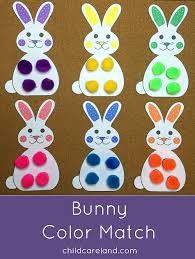 bunny color match for fine motor color recognition and