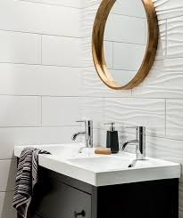 white bathroom tile ideas bathroom tile idea install 3d tiles to add texture to your