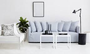 Italian Armchairs Contemporary Modern Designer Bronte Slipcover Sofa Light Blue Italian Linen