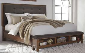 Wooden Box Bed Furniture Ralene Dark Brown Upholstered Storage Bedroom Set From Ashley