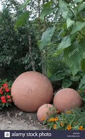 three concrete balls garden ornamental stock photo royalty free