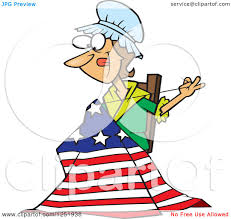Betsy Ross Flags Clipart Of A Cartoon Betsy Ross Sewing The First American Flag