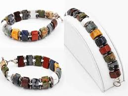 gemstone beaded bracelet images Vintage sterling silver multi gemstone bead bracelet artisan jpg