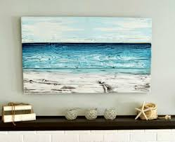 artwork on wooden boards diy painted wood simple shades of blue and earth for