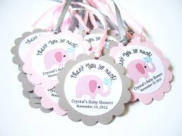 elephant favors pink elephant favor tags for baby girl shower party personalized