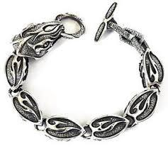 9 big serpent tribal silver bracelet python