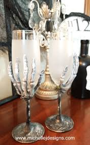 how to make creepy skeleton wine glasses for halloween