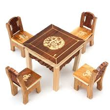 childrens wooden table and chairs 5pcs set vintage wooden table chair set for dolls house furniture
