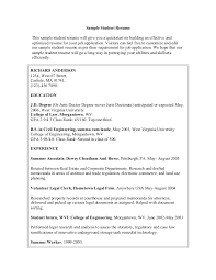 Sample Resume Undergraduate by Resume Examples For Students Sample High Student Resume