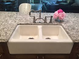 Air In Kitchen Faucet Kohler Hawthorne Double Bowl Apron Front Sink Brizo Tresa Kitchen