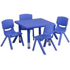 plastic table with chairs square blue plastic height adjustable activity table set with 4 chairs