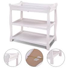 Sleigh Changing Table Costway Rakuten Costway White Sleigh Style Baby Changing Table