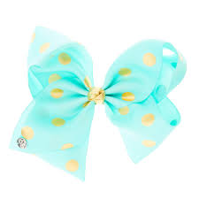 hair bow jojo siwa large mint gold polka dot hair bow s