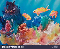 all dressed up tropical reef scene watercolor painting stock