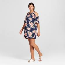 maternal america maternity floral printed cold shoulder dress maternal america