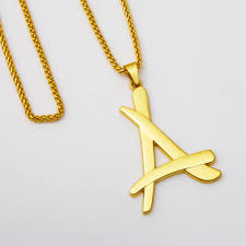 necklace pendants letters images Trendy golden iced out letter a pendant hip hop franco link chain jpg