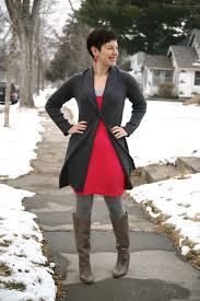 red dress with gray boots black dress pants