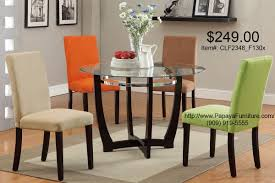 Round Dining Table With Glass Top 5pcs Modern Glass Top Round Dining Table And Parson Chair Set 4