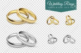 rings set images Wedding rings set of gold and silver metal on transparent jpg