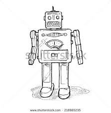 vintage toy robot hand drawn isolated stock vector 218985235