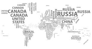 world map with country names vector world map with country names in typography stock vector