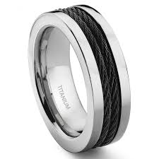 8mm ring titanium 8mm black cable ring