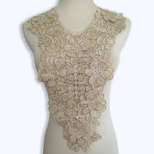 lace accessories 2 pieces lot gold thread embroidered venise lace collar lace trim