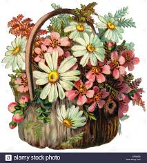 flower baskets kitsch souvenir flower basket with marguerites scrap picture