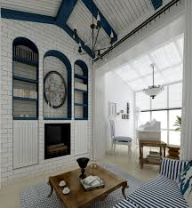 mediterranean style white living room coffee table interior design