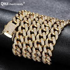 copper colored chain necklace images Hip hop mens copper curb cuban chain necklaces iced out cz cuban jpg