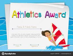 Prize Certificate Template Certificate Template For Athletics Award Stock Vector