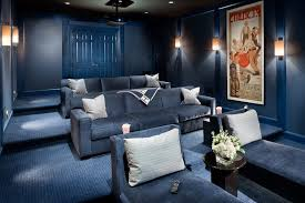 home theater couch home theater transitional with blue couches