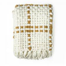 Kas Throw Rug Tia Woven Knitted Throw Rug Mustard Cream By Kas Linen Room