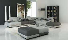 canapé gris foncé deco in 1 canape panoramique en cuir gris clair et gris