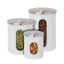Clear Plastic Kitchen Canisters Honey Can Do 3 Pack Metal Storage Canisters In White Kch 06428