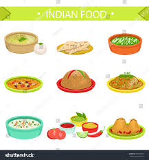indian food signature dishes illustration set stock vector