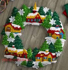 bucilla snow village wreath felt christmas home decor kit 86686