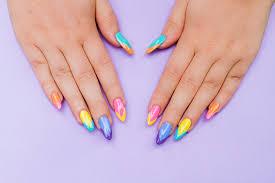 bright and colourful geometric nail tutorial bespoke bride