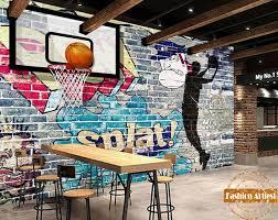 papier peint chambre gar n personnalisé 3d graffiti papier peint mural basket jamais