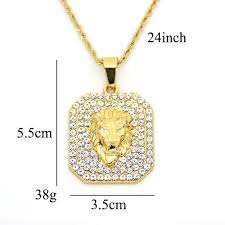 stainless steel rope necklace images Stainless steel rope chain lion head pendants hip hop men iced out jpg