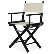 siege metteur en fauteuil de metteur en scène pliable en bois noir et tissu ecrù