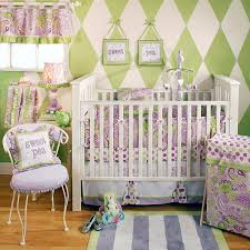Pink And Green Crib Bedding Crib Bedding Set Modern Lavender Green Paisley 4p Easy