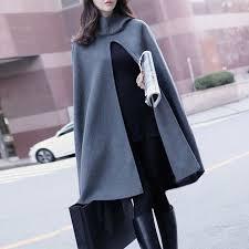 Favorito Outono Mulheres Casaco De Lã Capa Com Capuz Capa Preta Feminina  #DL17