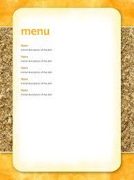 free blank menu template sle menu template